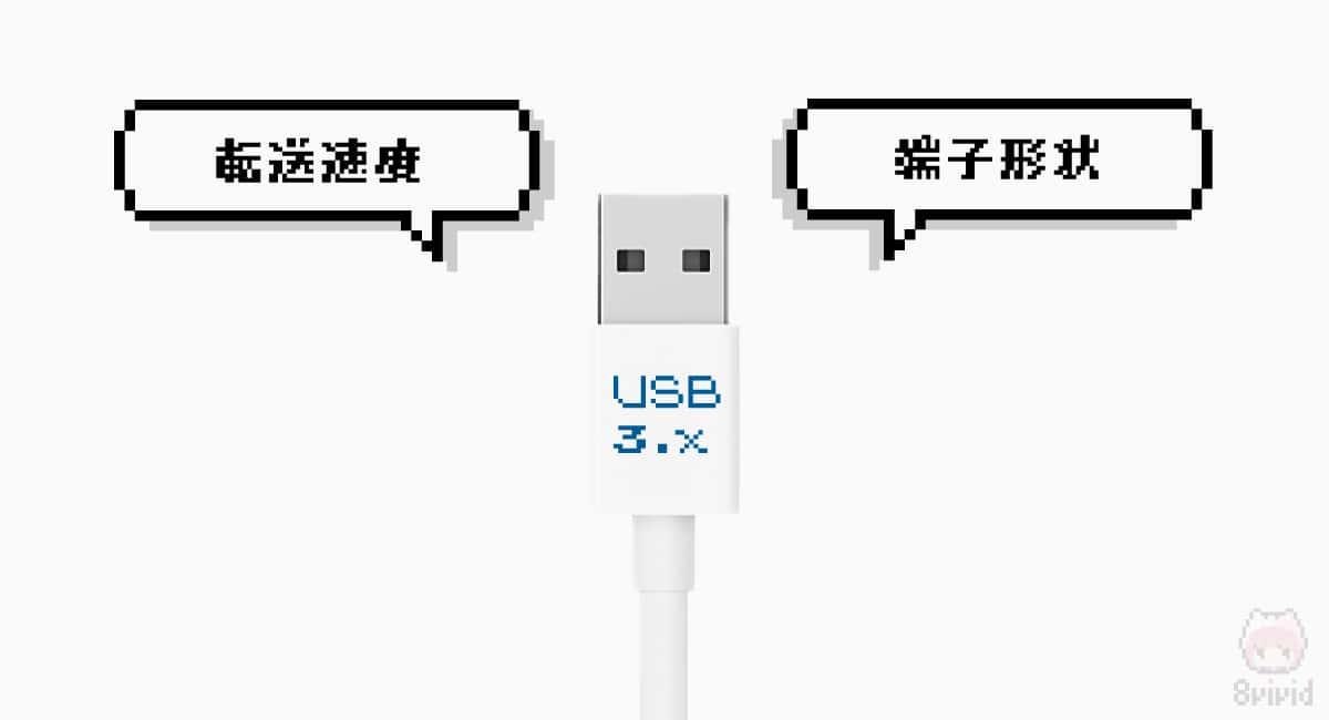 """USB 3.0/3.1/3.2は主に""""転送速度""""と""""端子形状""""が違う。"""