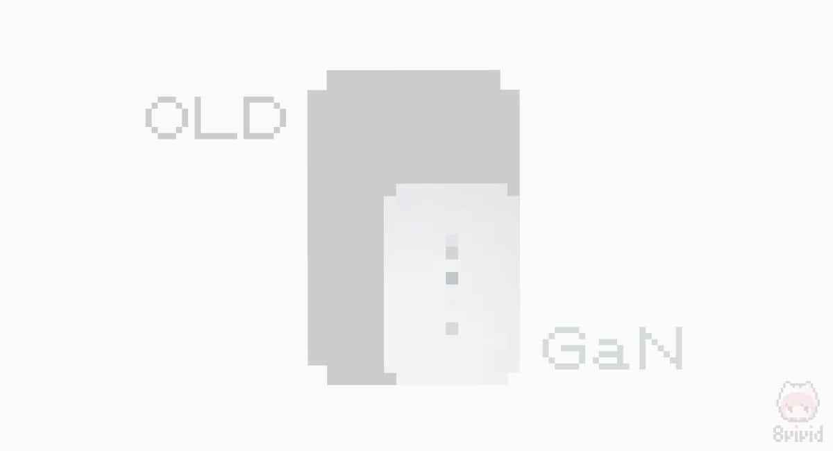 窒化ガリウムを採用することにより、USB充電器を大容量&小型化可能。