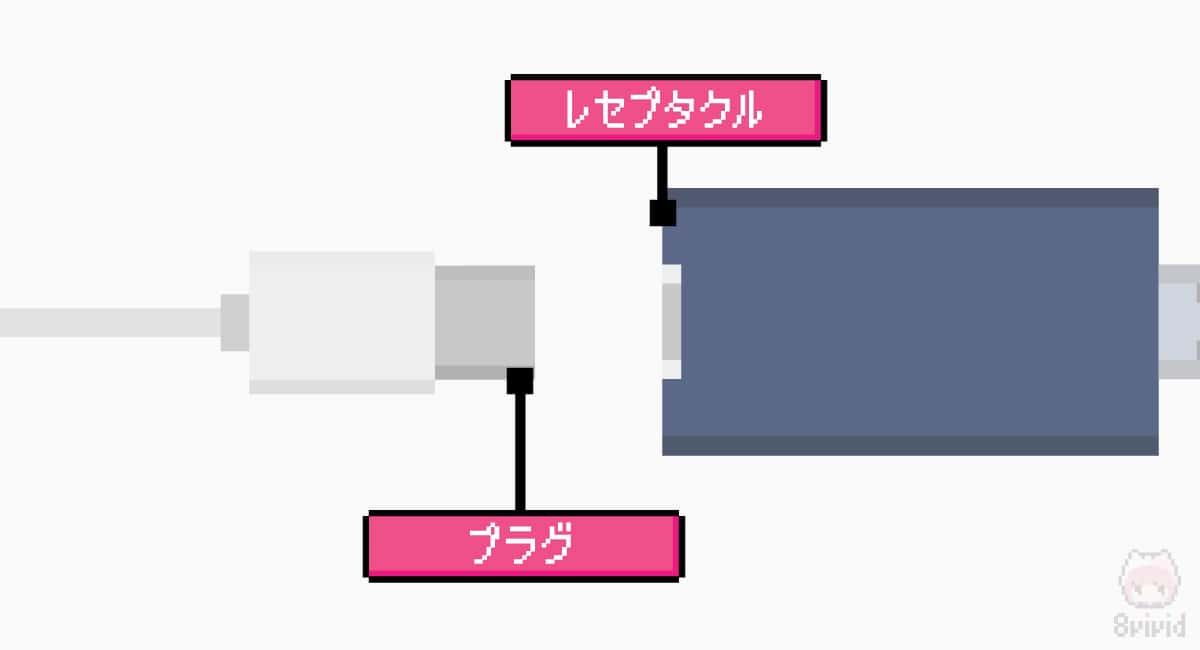 USB Type-Cのレセプタクル側とプラグ側。