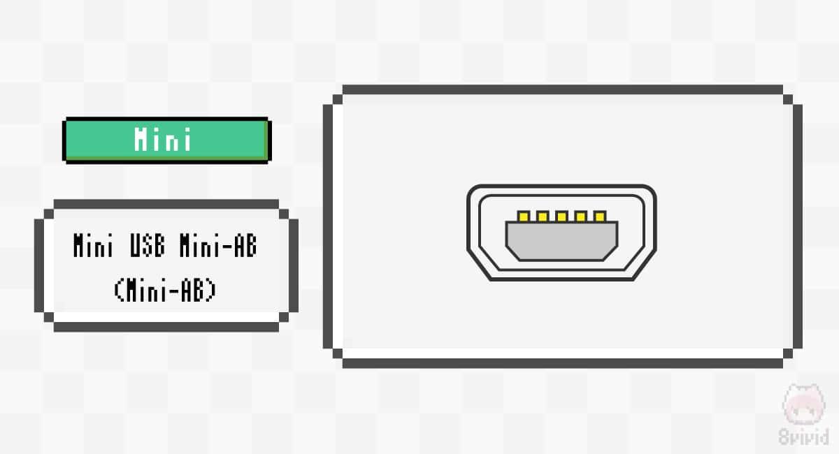 Mini USB Mini-AB(Mini-AB)のコネクター端子形状。