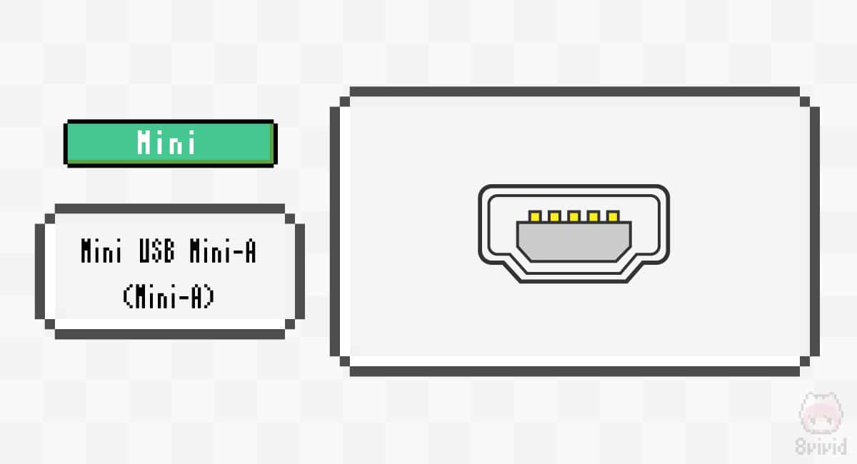 Mini USB Mini-A(Mini-A)のコネクター端子形状。